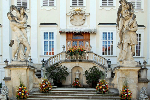 Festive floral decoration of the entrance stairway to the court of honour