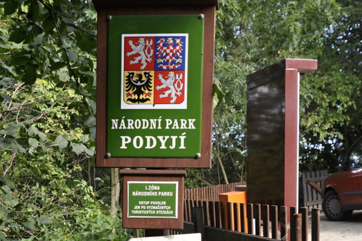 Information board for Podyjí National Park in front of the entrance to the chateau