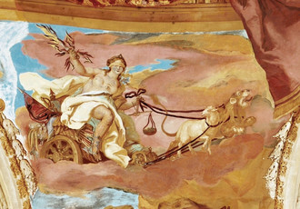 Detail of the allegory Justice from the fresco above a cornice in the Hall of the Ancestors