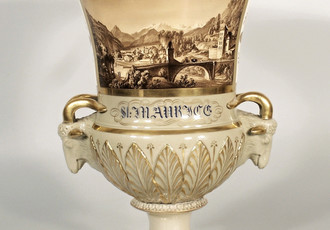 Vase with painting of the Swiss town of Saint Moritz