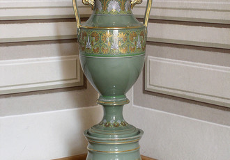 Vase with stand with painted and gilt decoration