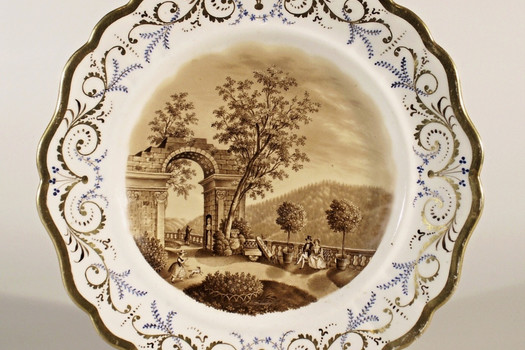 Dessert plate with print – south terrace of the chateau